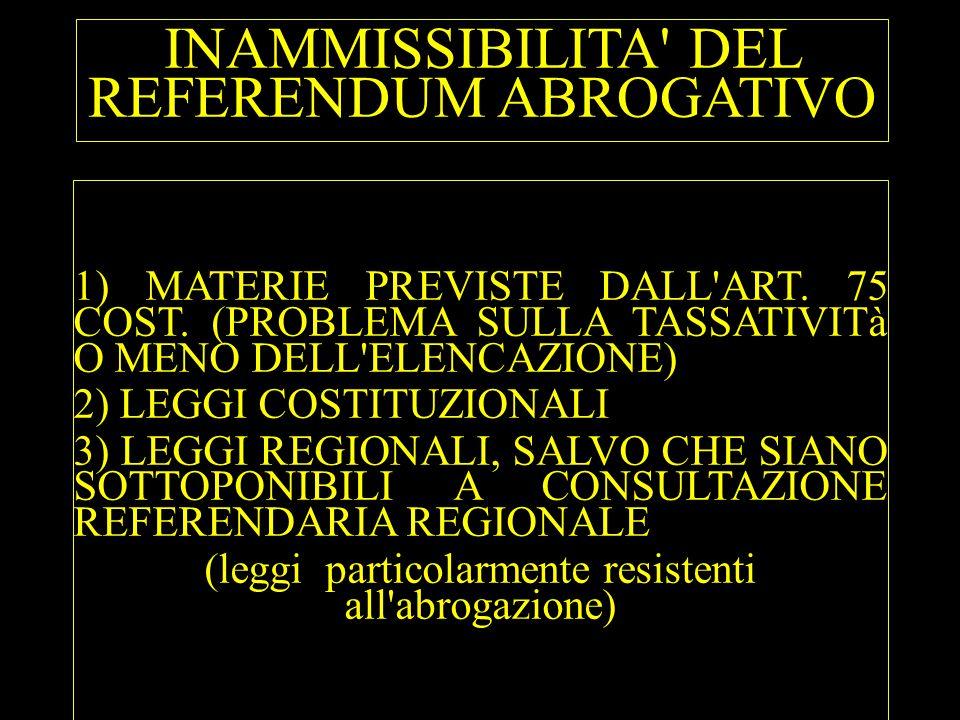 INAMMISSIBILITA' DEL REFERENDUM ABROGATIVO 1) MATERIE PREVISTE DALL'ART. 75 COST. (PROBLEMA SULLA TASSATIVITà O MENO DELL'ELENCAZIONE) 2) LEGGI COSTIT
