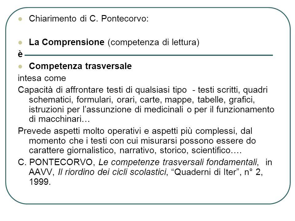 Chiarimento di C. Pontecorvo: La Comprensione (competenza di lettura) è Competenza trasversale intesa come Capacità di affrontare testi di qualsiasi t