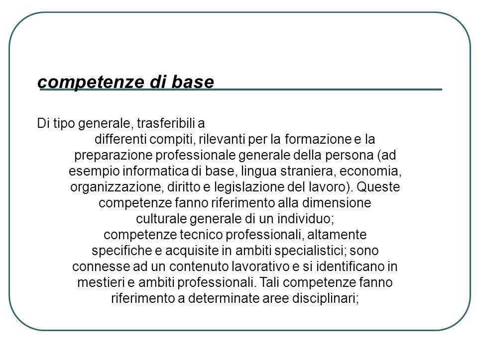 competenze di base Di tipo generale, trasferibili a differenti compiti, rilevanti per la formazione e la preparazione professionale generale della per