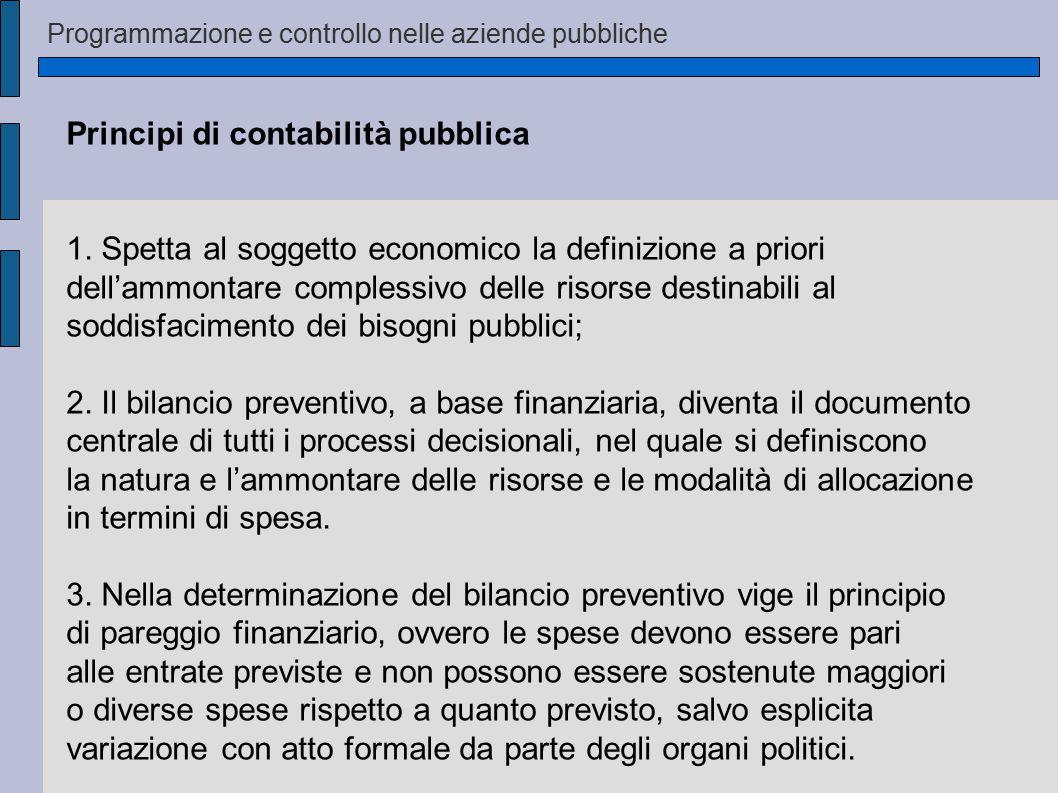 Programmazione e controllo nelle aziende pubbliche Principi di contabilità pubblica 1. Spetta al soggetto economico la definizione a priori dell'ammon
