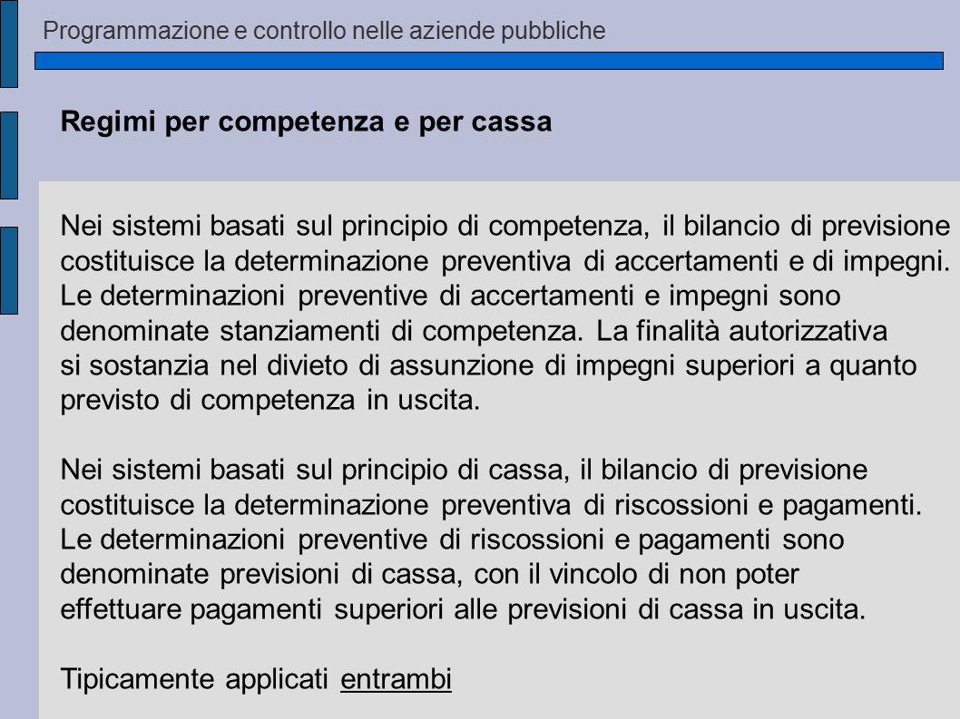 Programmazione e controllo nelle aziende pubbliche Regimi per competenza e per cassa Nei sistemi basati sul principio di competenza, il bilancio di previsione costituisce la determinazione preventiva di accertamenti e di impegni.
