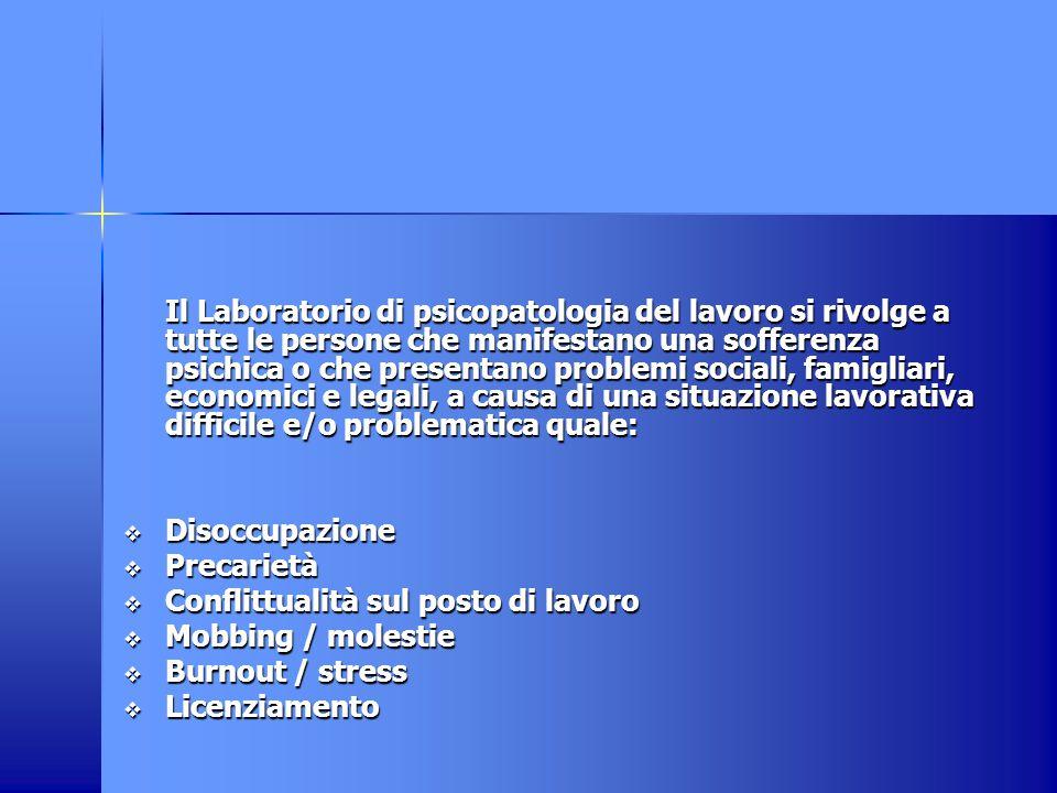 Il Laboratorio di psicopatologia del lavoro è costituito da un'équipe pluridisciplinare che comprende: medici, assistenti sociali, psicologi e consulenti legali.