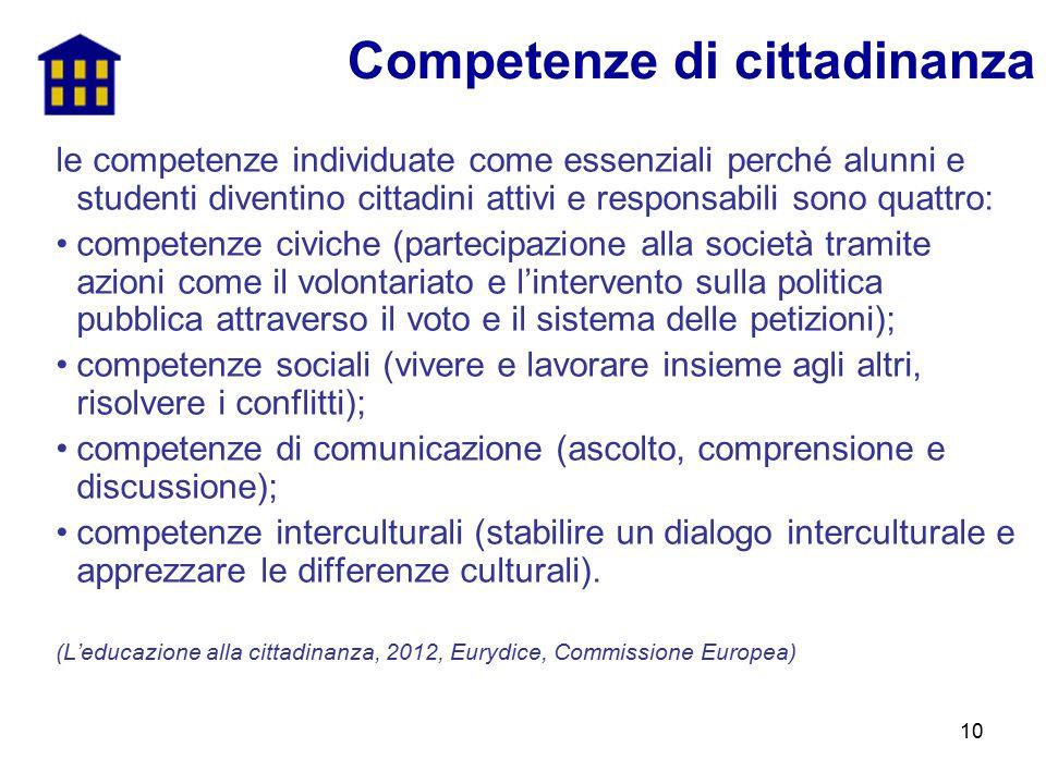 10 le competenze individuate come essenziali perché alunni e studenti diventino cittadini attivi e responsabili sono quattro: competenze civiche (part