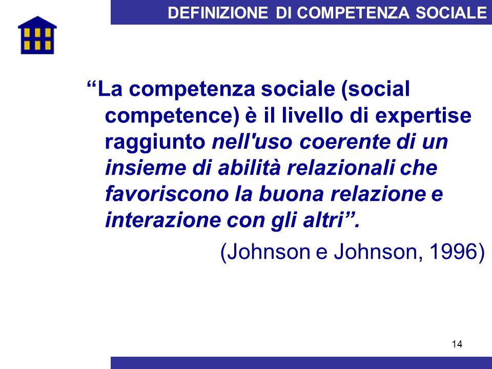"""14 DEFINIZIONE DI COMPETENZA SOCIALE """"La competenza sociale (social competence) è il livello di expertise raggiunto nell'uso coerente di un insieme di"""