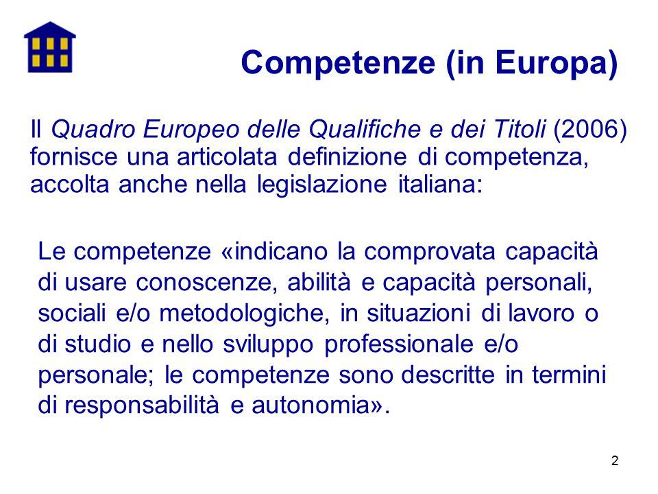 2 Competenze (in Europa) Le competenze «indicano la comprovata capacità di usare conoscenze, abilità e capacità personali, sociali e/o metodologiche,