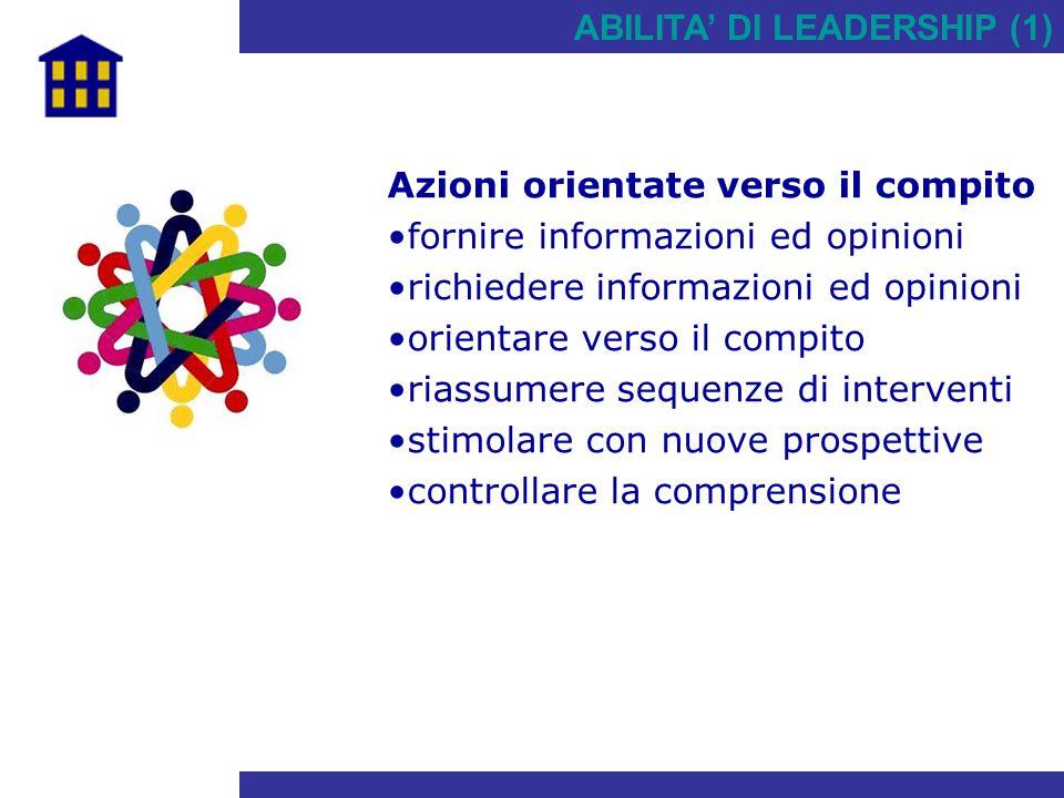 ABILITA' DI LEADERSHIP (1) Azioni orientate verso il compito fornire informazioni ed opinioni richiedere informazioni ed opinioni orientare verso il c