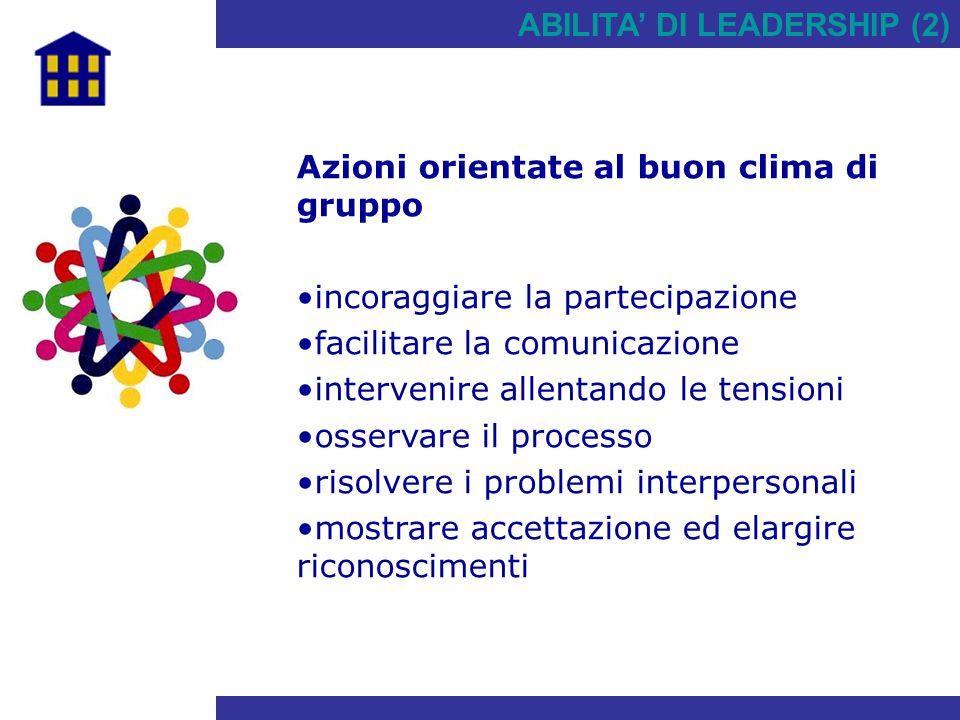 ABILITA' DI LEADERSHIP (2) Azioni orientate al buon clima di gruppo incoraggiare la partecipazione facilitare la comunicazione intervenire allentando