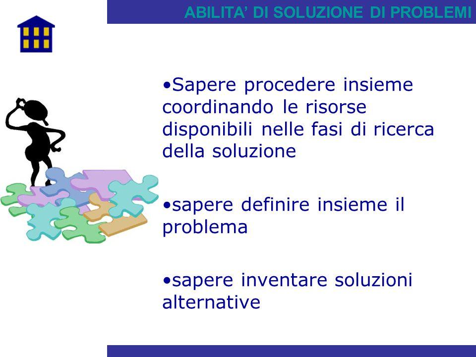 ABILITA' DI SOLUZIONE DI PROBLEMI Sapere procedere insieme coordinando le risorse disponibili nelle fasi di ricerca della soluzione sapere definire in