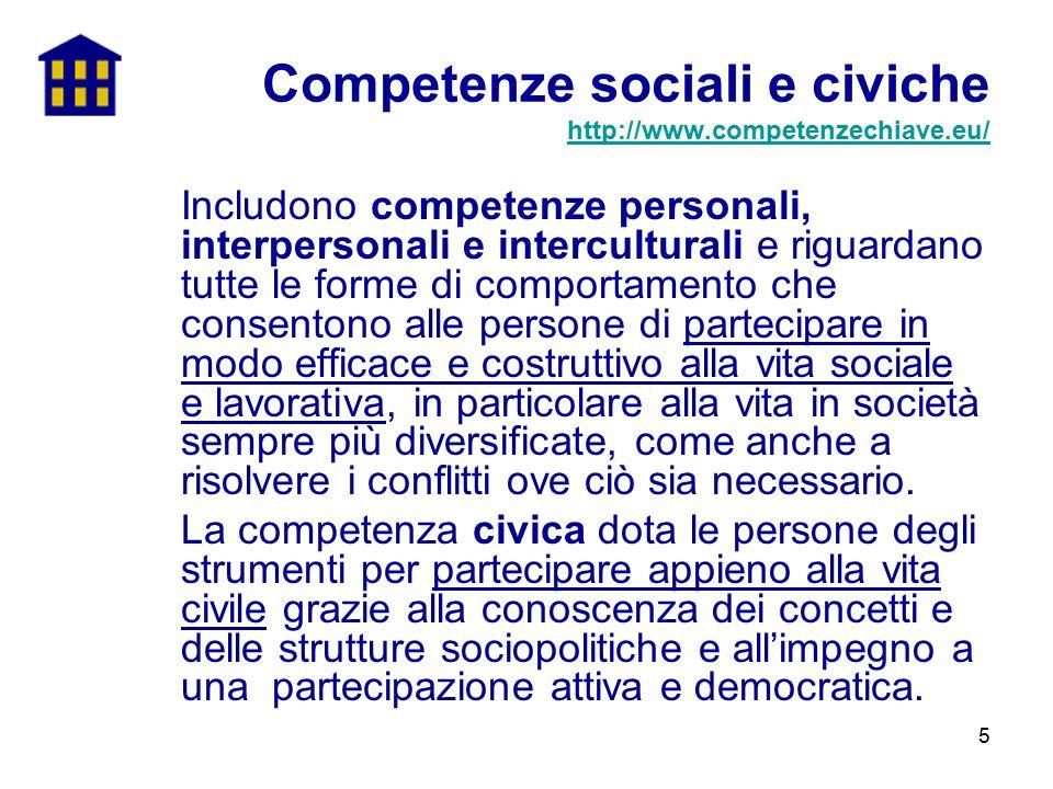 5 Includono competenze personali, interpersonali e interculturali e riguardano tutte le forme di comportamento che consentono alle persone di partecip