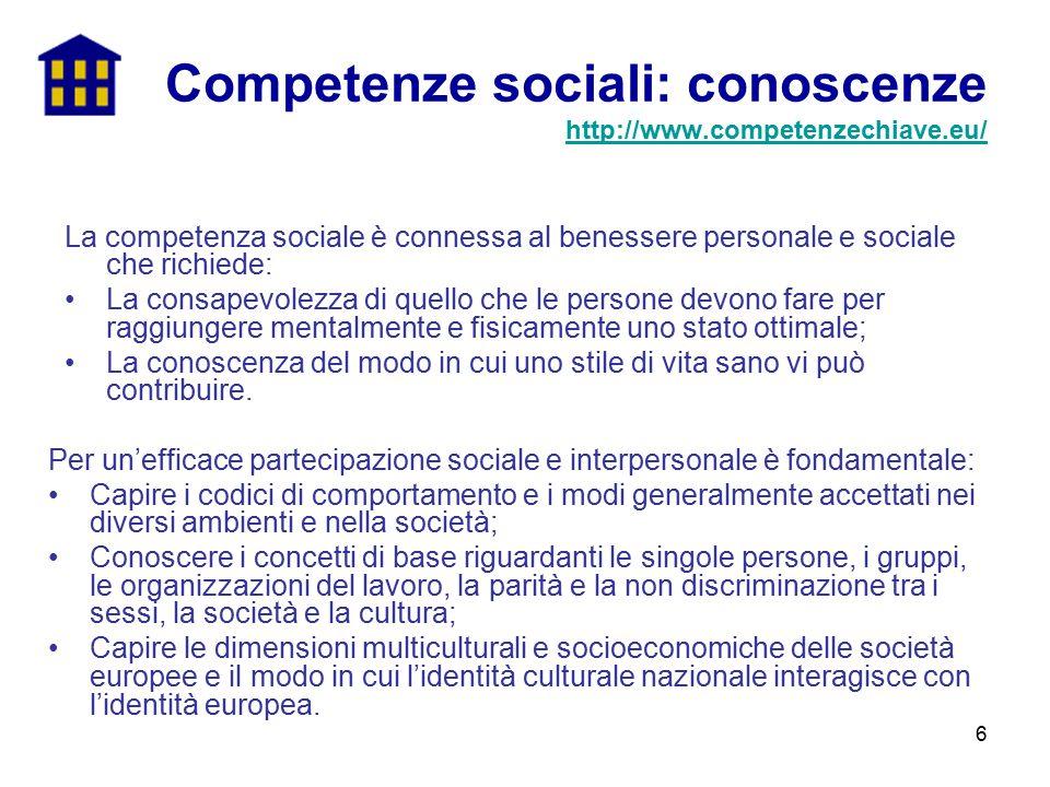 6 La competenza sociale è connessa al benessere personale e sociale che richiede: La consapevolezza di quello che le persone devono fare per raggiunge