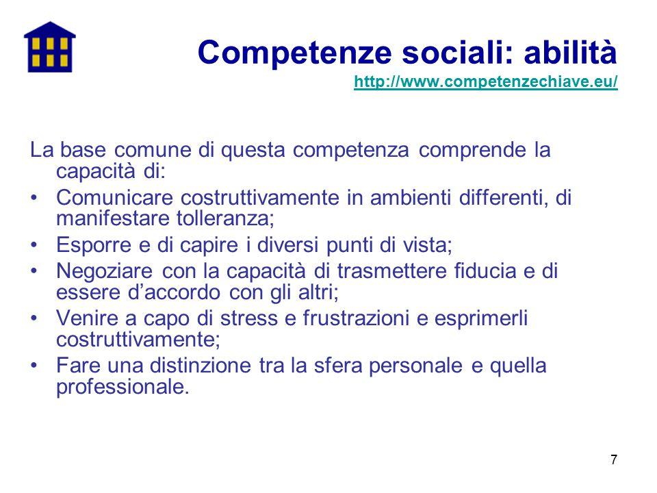7 La base comune di questa competenza comprende la capacità di: Comunicare costruttivamente in ambienti differenti, di manifestare tolleranza; Esporre