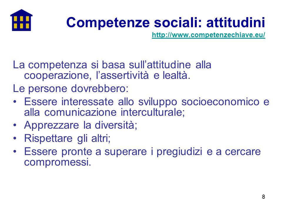 8 La competenza si basa sull'attitudine alla cooperazione, l'assertività e lealtà. Le persone dovrebbero: Essere interessate allo sviluppo socioeconom
