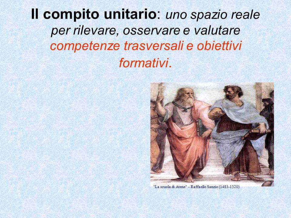 La scuola di Atene - Raffaello Sanzio (1483-1520) Il compito unitario: uno spazio reale per rilevare, osservare e valutare competenze trasversali e obiettivi formativi.