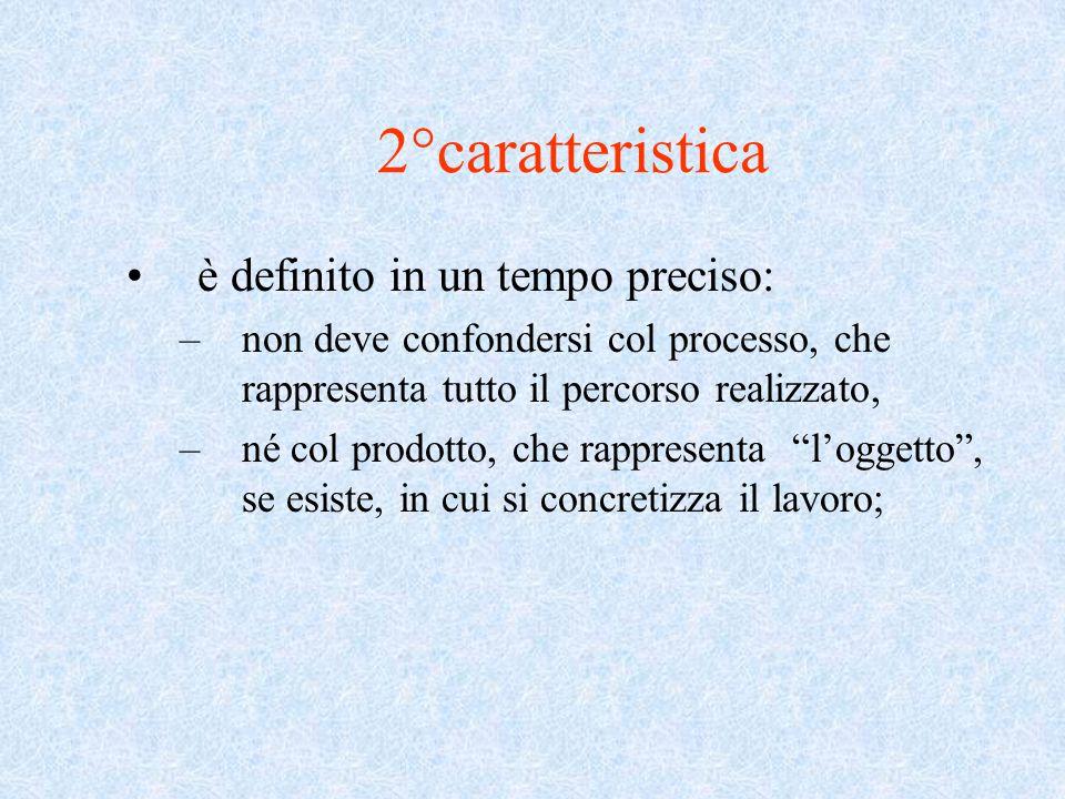 2°caratteristica è definito in un tempo preciso: –non deve confondersi col processo, che rappresenta tutto il percorso realizzato, –né col prodotto, che rappresenta l'oggetto , se esiste, in cui si concretizza il lavoro;
