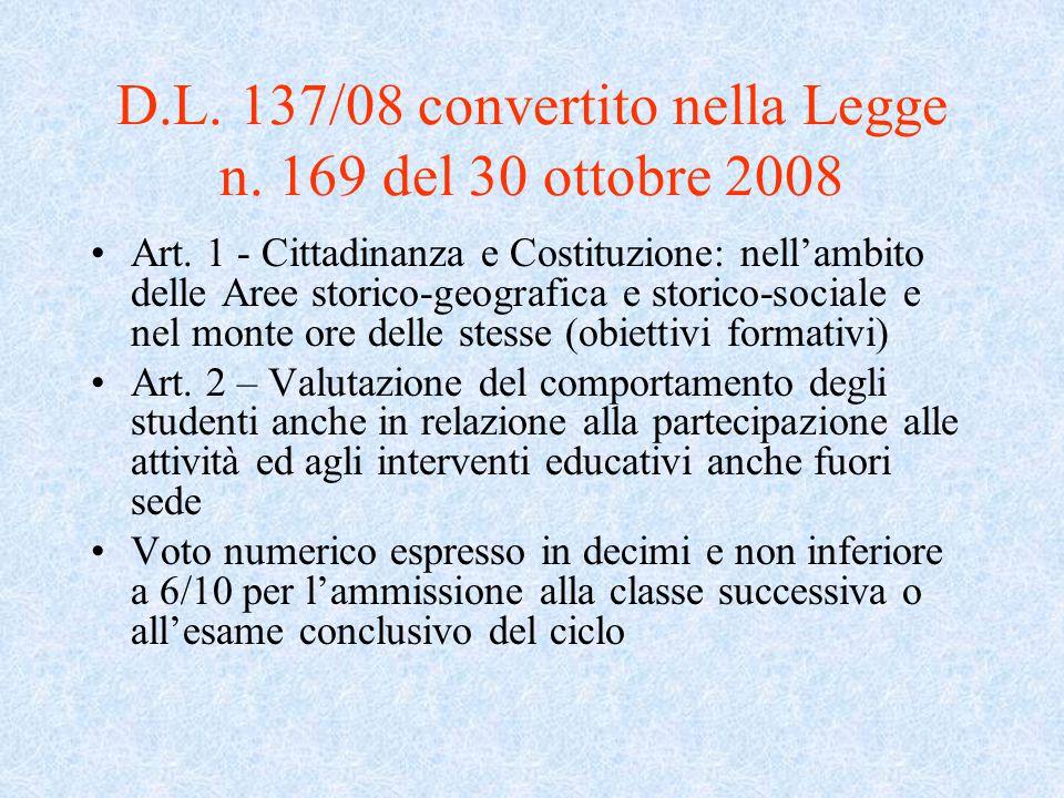 D.L. 137/08 convertito nella Legge n. 169 del 30 ottobre 2008 Art. 1 - Cittadinanza e Costituzione: nell'ambito delle Aree storico-geografica e storic