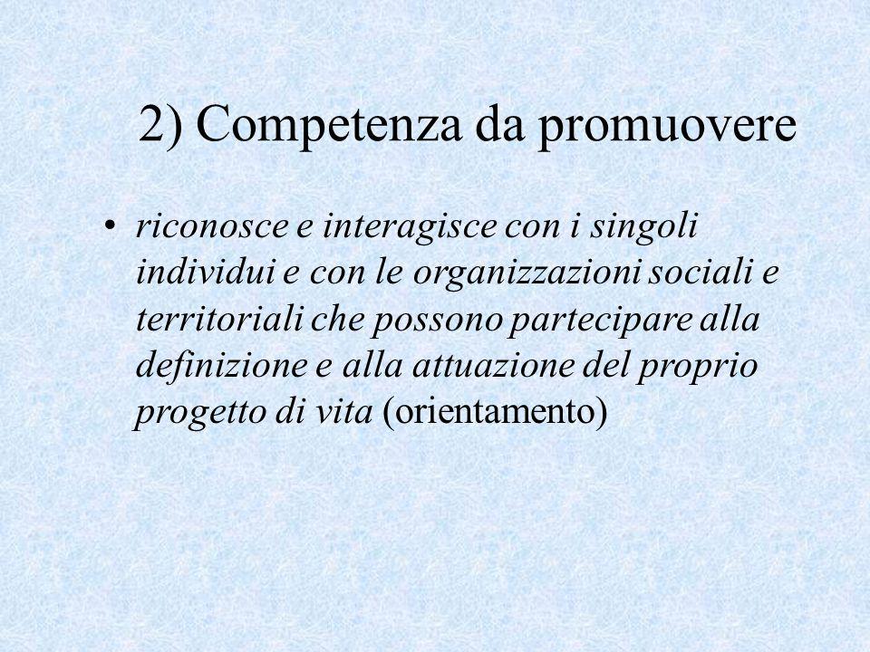 2) Competenza da promuovere riconosce e interagisce con i singoli individui e con le organizzazioni sociali e territoriali che possono partecipare all