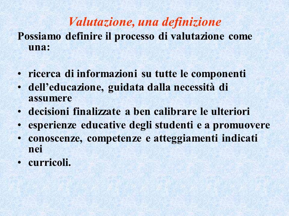 Valutazione, una definizione Possiamo definire il processo di valutazione come una: ricerca di informazioni su tutte le componenti dell'educazione, gu