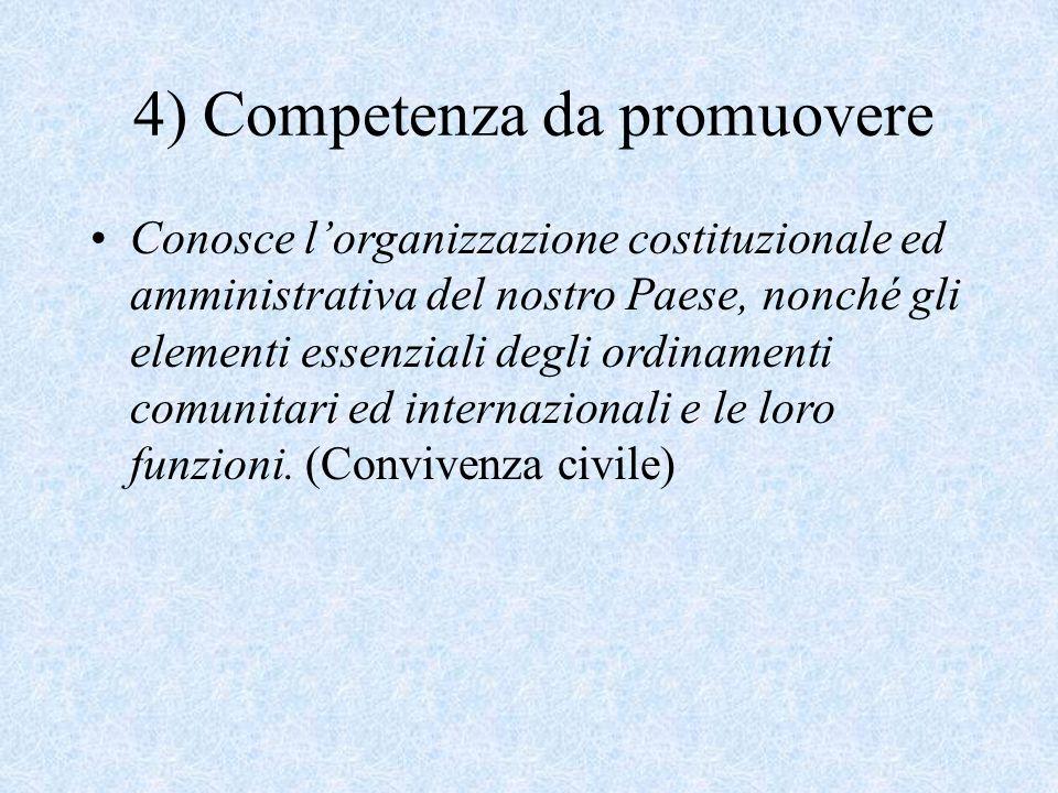 4) Competenza da promuovere Conosce l'organizzazione costituzionale ed amministrativa del nostro Paese, nonché gli elementi essenziali degli ordinamenti comunitari ed internazionali e le loro funzioni.