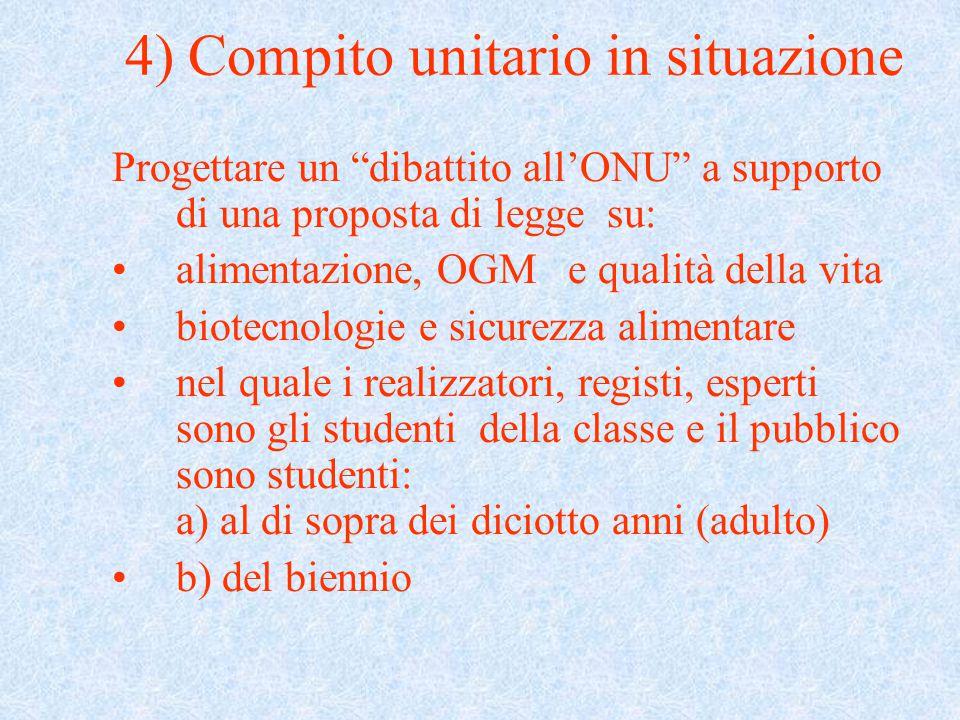 """4) Compito unitario in situazione Progettare un """"dibattito all'ONU"""" a supporto di una proposta di legge su: alimentazione, OGM e qualità della vita bi"""