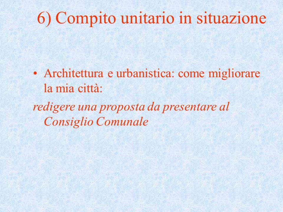 Architettura e urbanistica: come migliorare la mia città: redigere una proposta da presentare al Consiglio Comunale 6) Compito unitario in situazione