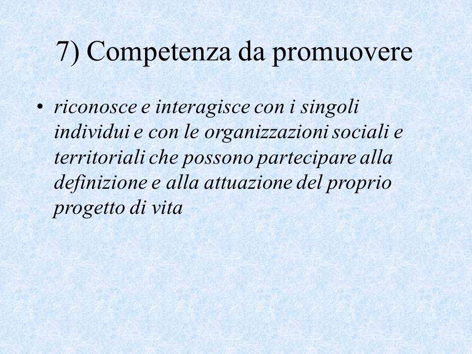 riconosce e interagisce con i singoli individui e con le organizzazioni sociali e territoriali che possono partecipare alla definizione e alla attuazione del proprio progetto di vita 7) Competenza da promuovere