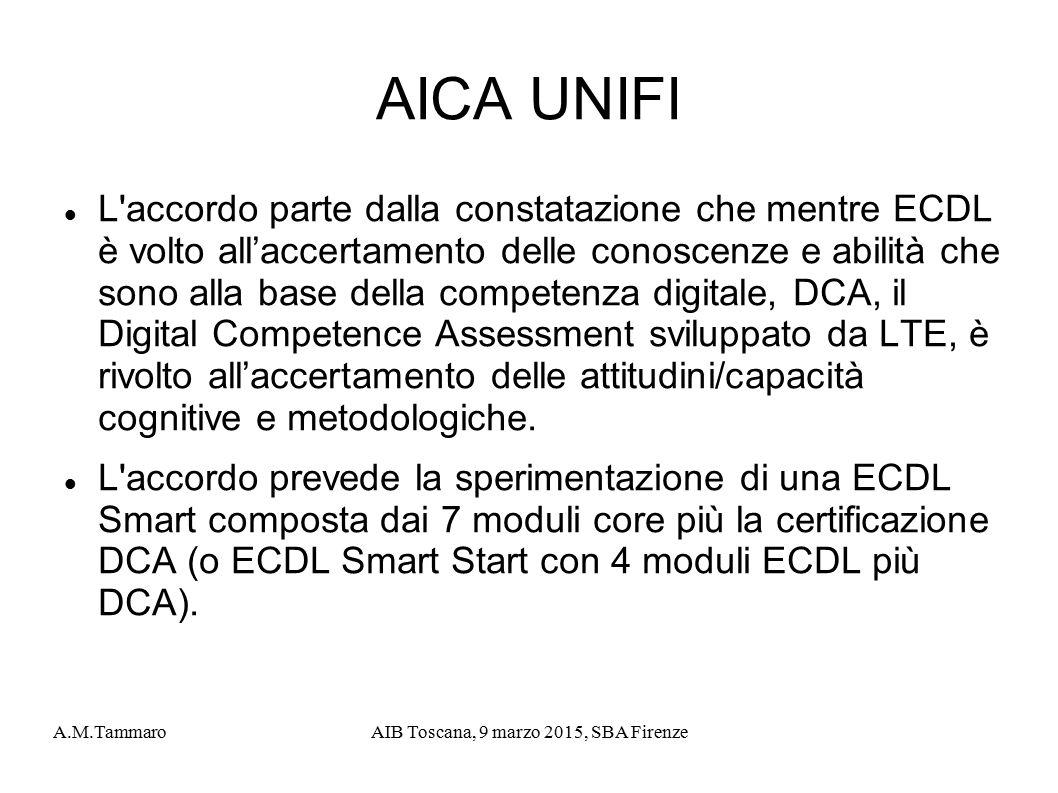 A.M.TammaroAIB Toscana, 9 marzo 2015, SBA Firenze AICA UNIFI L'accordo parte dalla constatazione che mentre ECDL è volto all'accertamento delle conosc
