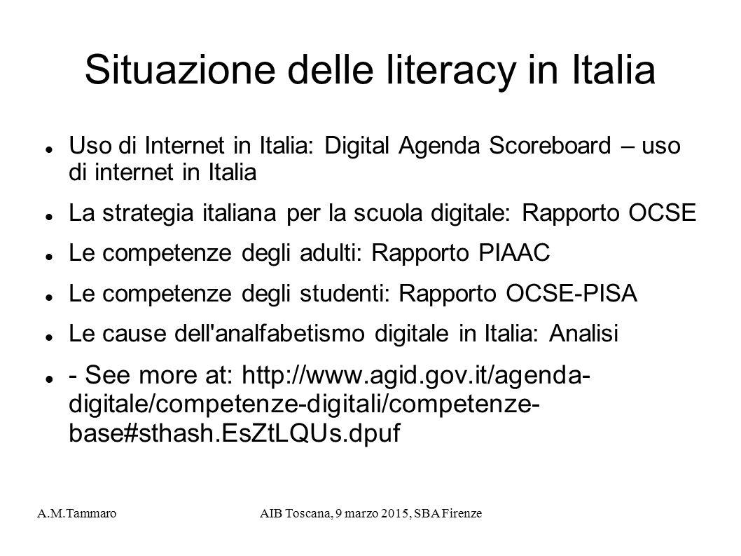 A.M.TammaroAIB Toscana, 9 marzo 2015, SBA Firenze Situazione delle literacy in Italia Uso di Internet in Italia: Digital Agenda Scoreboard – uso di in