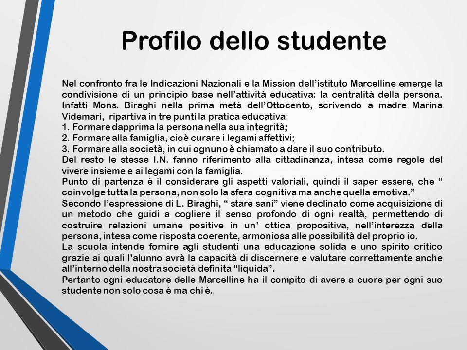 Profilo dello studente Nel confronto fra le Indicazioni Nazionali e la Mission dell'istituto Marcelline emerge la condivisione di un principio base ne