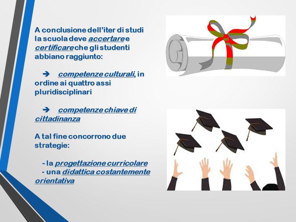 A conclusione dell'iter di studi la scuola deve accertare e certificare che gli studenti abbiano raggiunto:  competenze culturali, in ordine ai quatt