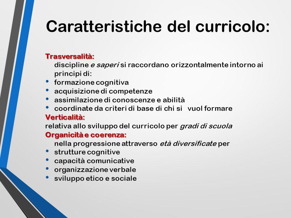 Caratteristiche del curricolo: Trasversalità: discipline e saperi si raccordano orizzontalmente intorno ai principi di: formazione cognitiva acquisizi