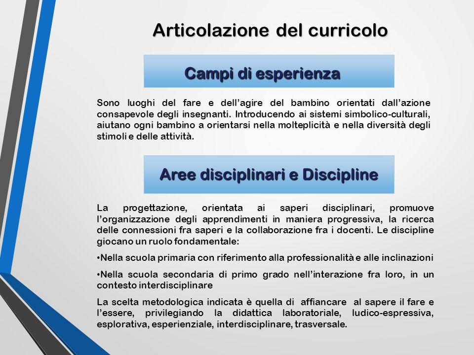Articolazione del curricolo Campi di esperienza Campi di esperienza Sono luoghi del fare e dell'agire del bambino orientati dall'azione consapevole de