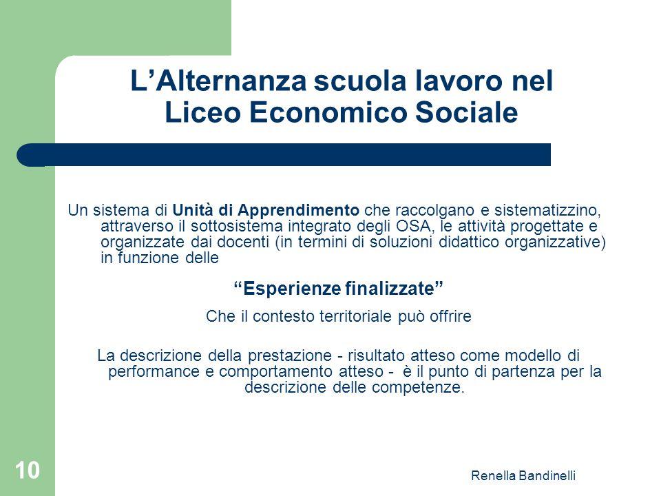 Renella Bandinelli 10 L'Alternanza scuola lavoro nel Liceo Economico Sociale Un sistema di Unità di Apprendimento che raccolgano e sistematizzino, att