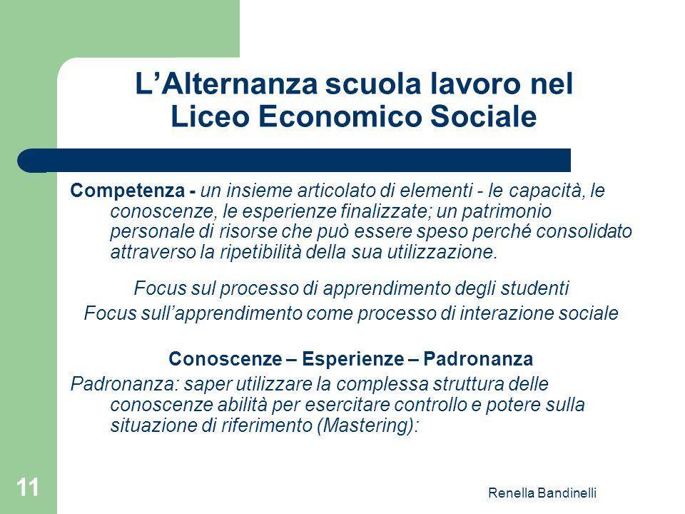 Renella Bandinelli 11 L'Alternanza scuola lavoro nel Liceo Economico Sociale Competenza - un insieme articolato di elementi - le capacità, le conoscen