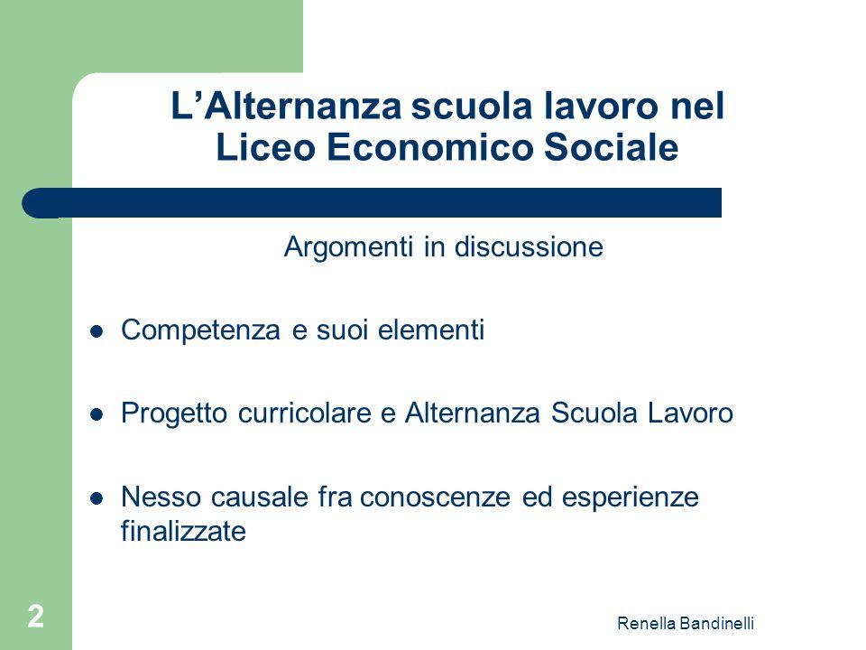Renella Bandinelli 2 L'Alternanza scuola lavoro nel Liceo Economico Sociale Argomenti in discussione Competenza e suoi elementi Progetto curricolare e