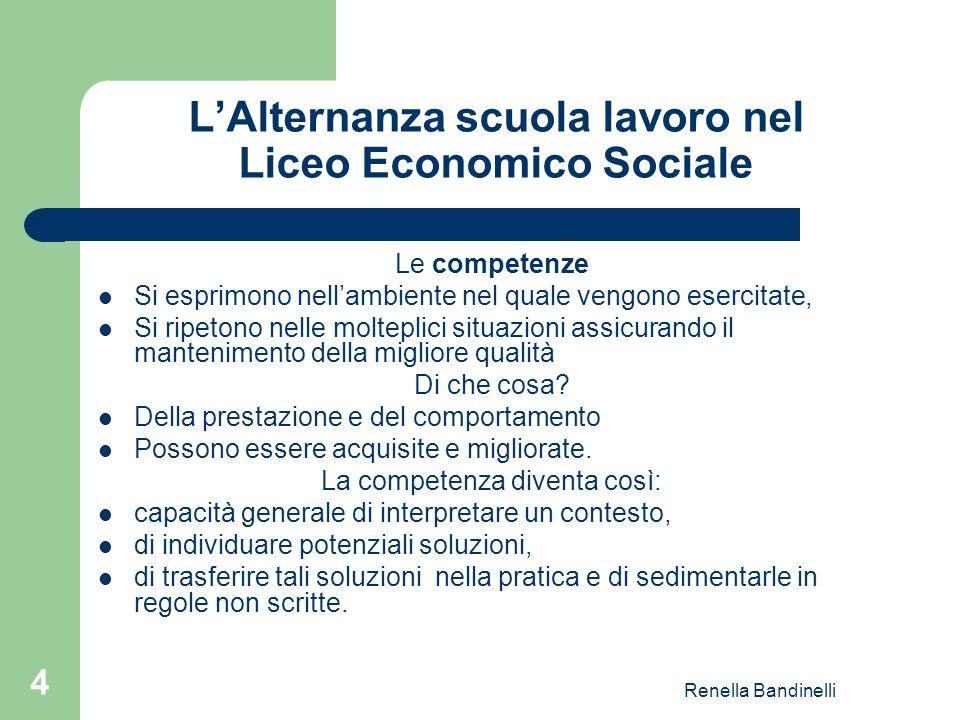 Renella Bandinelli 4 L'Alternanza scuola lavoro nel Liceo Economico Sociale Le competenze Si esprimono nell'ambiente nel quale vengono esercitate, Si