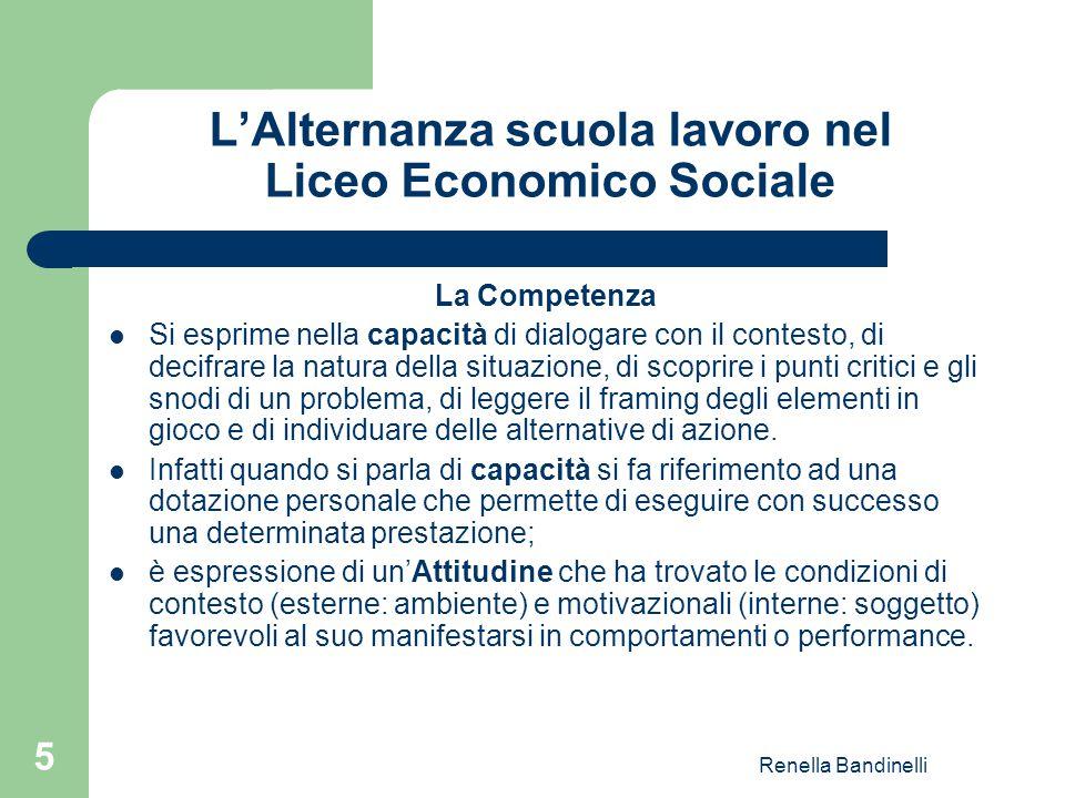 Renella Bandinelli 5 L'Alternanza scuola lavoro nel Liceo Economico Sociale La Competenza Si esprime nella capacità di dialogare con il contesto, di d