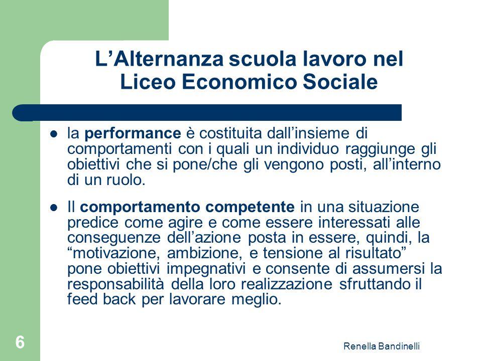 Renella Bandinelli 6 L'Alternanza scuola lavoro nel Liceo Economico Sociale la performance è costituita dall'insieme di comportamenti con i quali un i