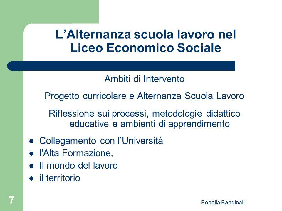 Renella Bandinelli 7 L'Alternanza scuola lavoro nel Liceo Economico Sociale Ambiti di Intervento Progetto curricolare e Alternanza Scuola Lavoro Rifle