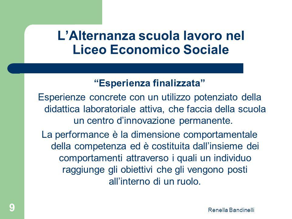 """Renella Bandinelli 9 L'Alternanza scuola lavoro nel Liceo Economico Sociale """"Esperienza finalizzata"""" Esperienze concrete con un utilizzo potenziato de"""