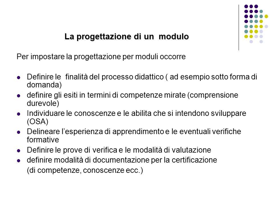 La progettazione di un modulo Per impostare la progettazione per moduli occorre Definire le finalità del processo didattico ( ad esempio sotto forma d