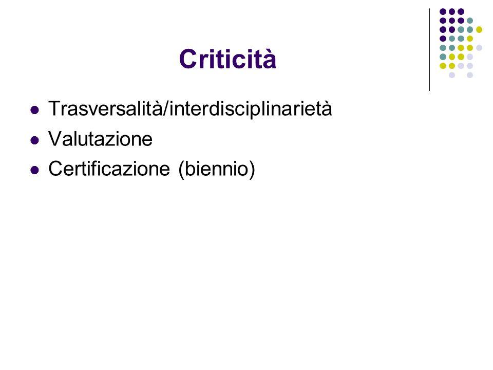 Criticità Trasversalità/interdisciplinarietà Valutazione Certificazione (biennio)