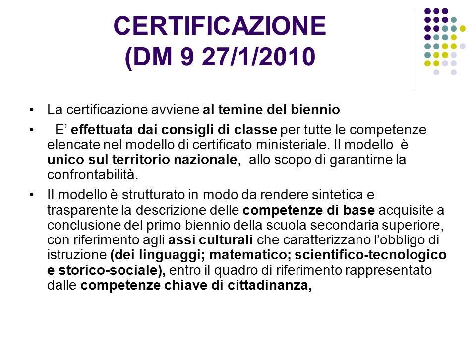 CERTIFICAZIONE (DM 9 27/1/2010 La certificazione avviene al temine del biennio E' effettuata dai consigli di classe per tutte le competenze elencate nel modello di certificato ministeriale.