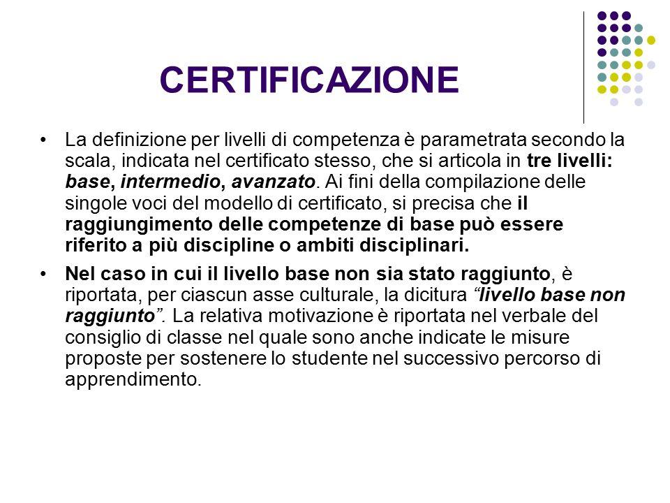 CERTIFICAZIONE La definizione per livelli di competenza è parametrata secondo la scala, indicata nel certificato stesso, che si articola in tre livell