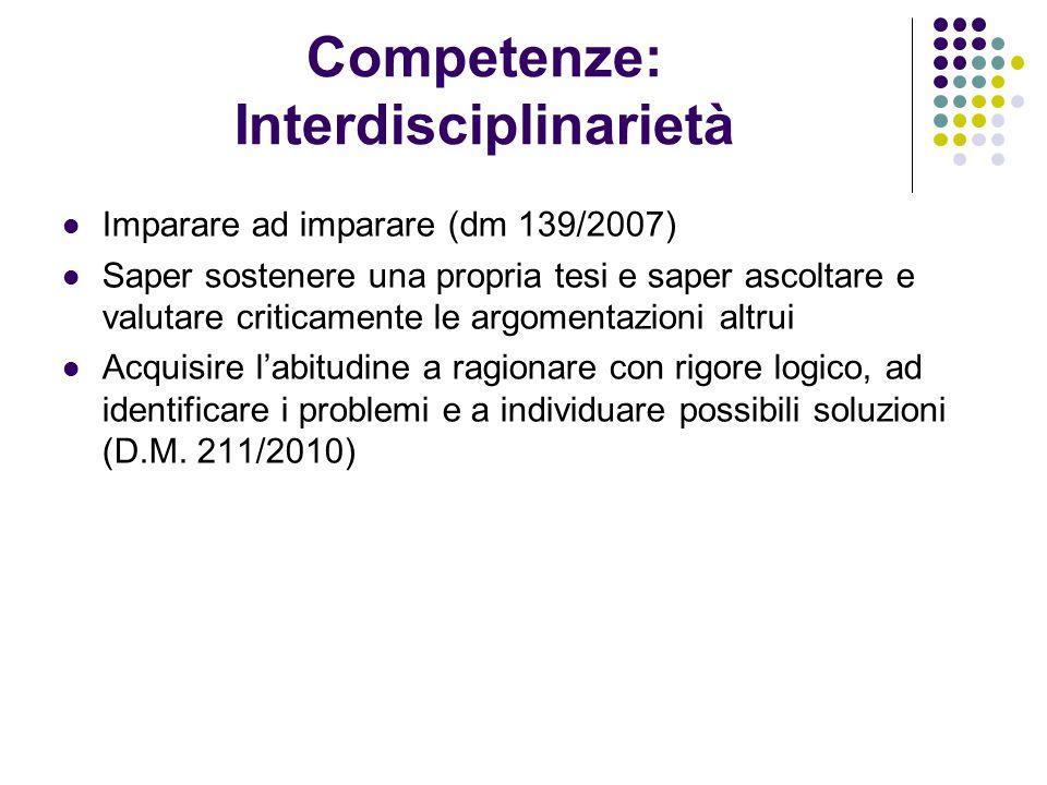 Competenze: Interdisciplinarietà Imparare ad imparare (dm 139/2007) Saper sostenere una propria tesi e saper ascoltare e valutare criticamente le argo