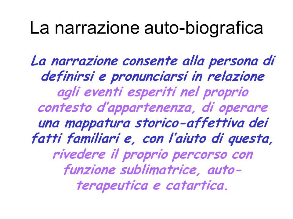 La narrazione auto-biografica La narrazione consente alla persona di definirsi e pronunciarsi in relazione agli eventi esperiti nel proprio contesto d