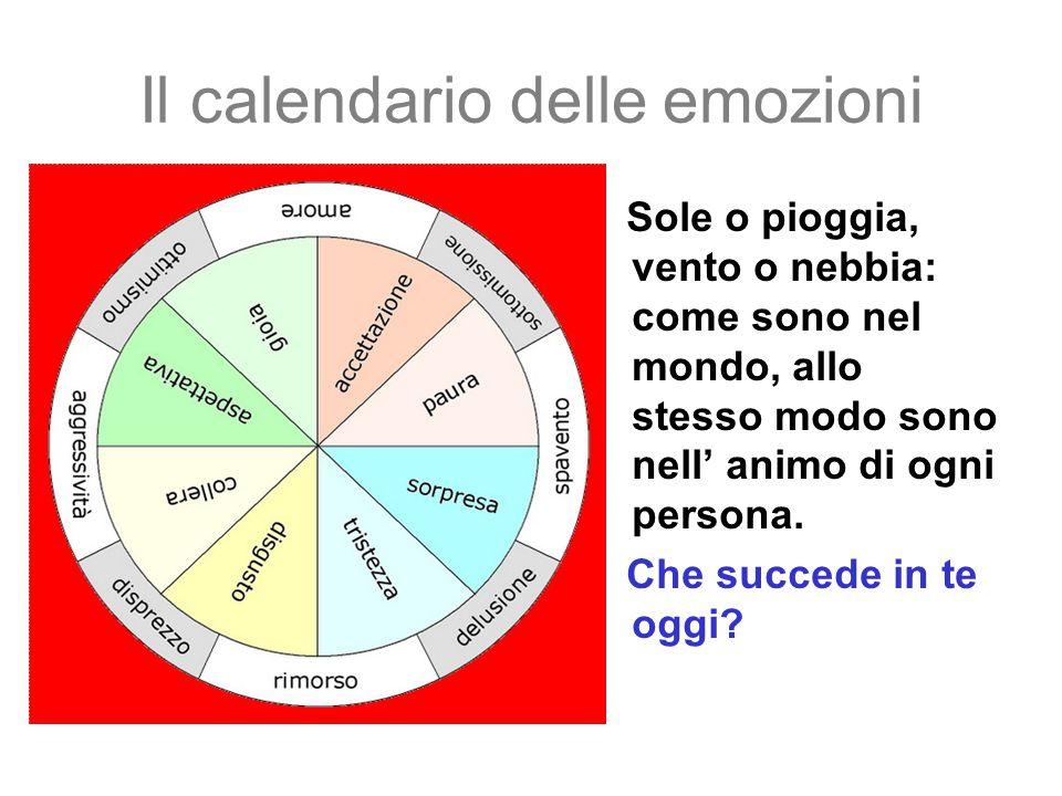 Il calendario delle emozioni Sole o pioggia, vento o nebbia: come sono nel mondo, allo stesso modo sono nell' animo di ogni persona. Che succede in te