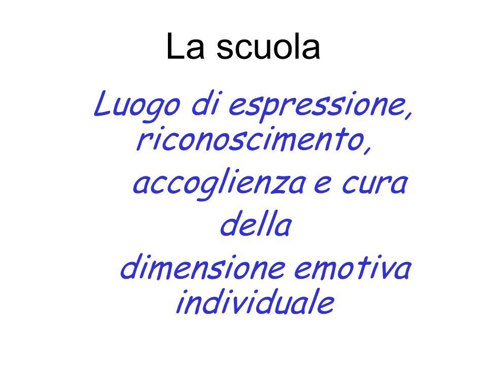 La scuola Luogo di espressione, riconoscimento, accoglienza e cura della dimensione emotiva individuale