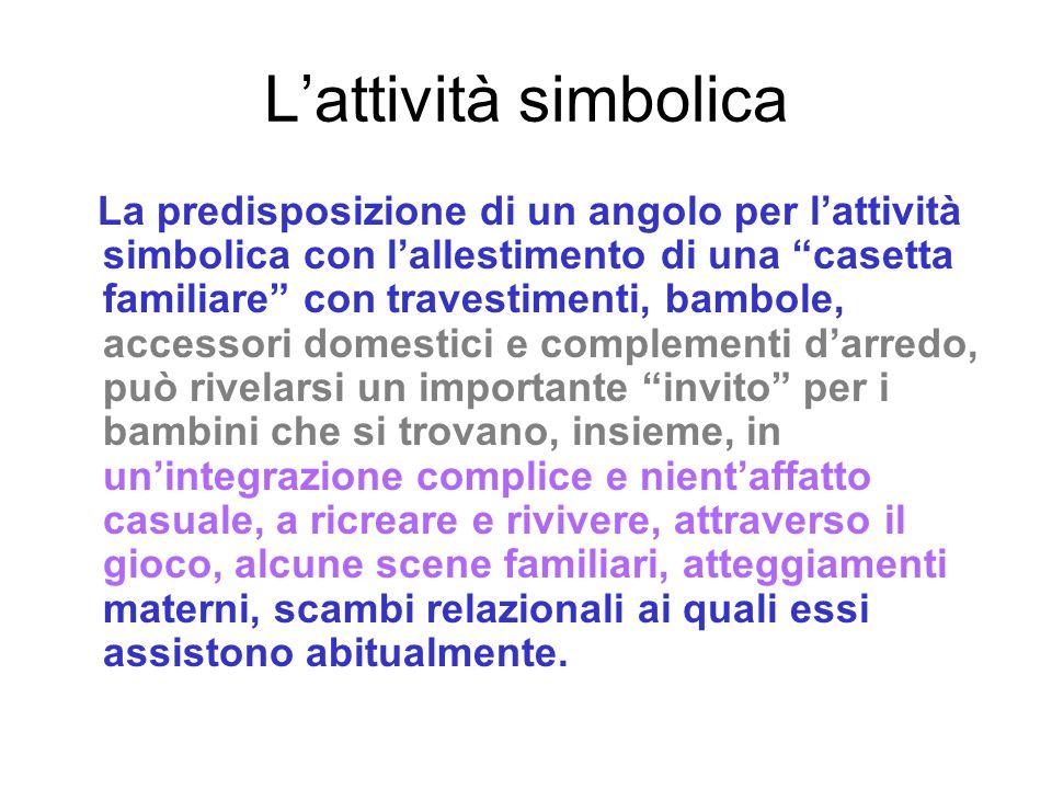 """L'attività simbolica La predisposizione di un angolo per l'attività simbolica con l'allestimento di una """"casetta familiare"""" con travestimenti, bambole"""