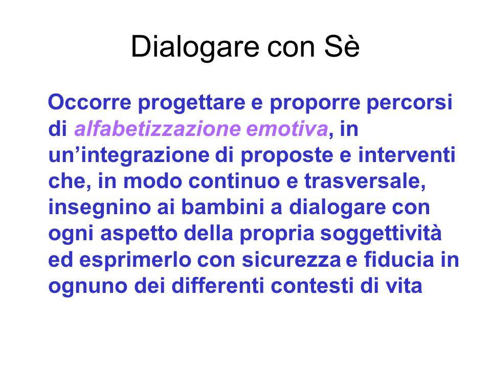 Dialogare con Sè Occorre progettare e proporre percorsi di alfabetizzazione emotiva, in un'integrazione di proposte e interventi che, in modo continuo