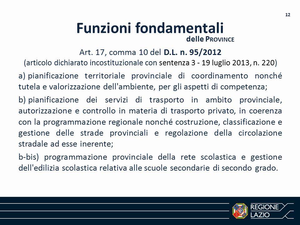 Art. 17, comma 10 del D.L. n. 95/2012 (articolo dichiarato incostituzionale con sentenza 3 - 19 luglio 2013, n. 220) a) pianificazione territoriale pr